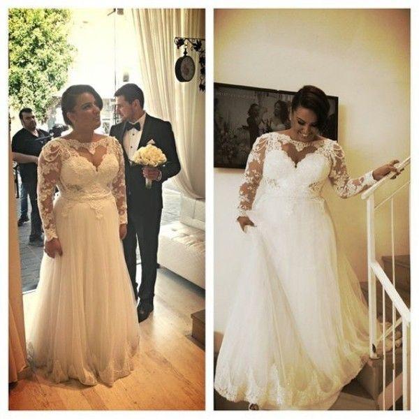라인 플러스 사이즈 웨딩 드레스 매력적인 하트 모양의 레이스 Appiques 진주와 탑 환상 긴 소매 Tulle 신부 가운