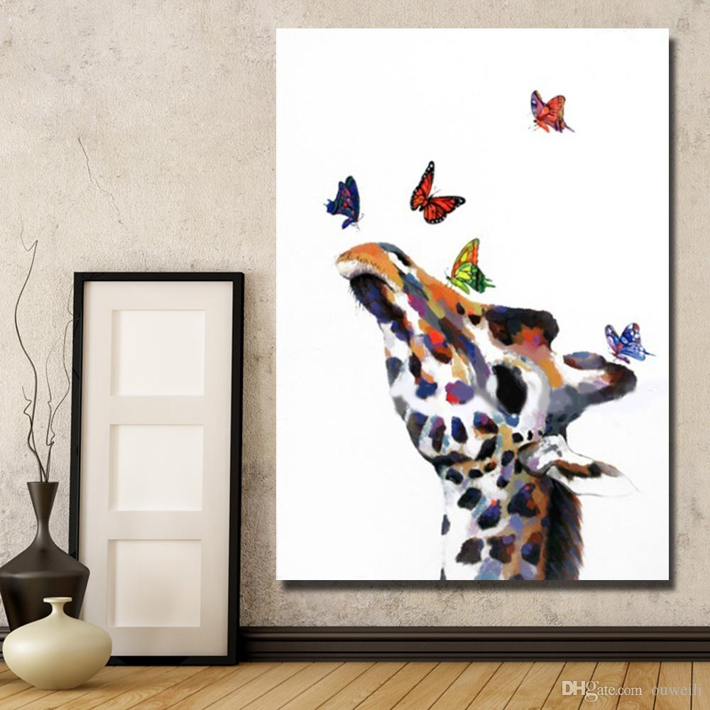 cartoon animal oil painting hand painted animal head home wall decoration abstract canvas art