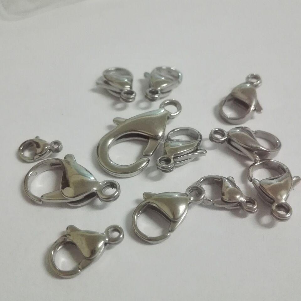 بيع المصنع مباشرة 100 قطعة / الوحدة 9 ملليمتر 10 ملليمتر 11 ملليمتر 12 ملليمتر 13 ملليمتر 15 ملليمتر المقاوم للصدأ المشابك جراد البحر السنانير مجوهرات العثور diy عالية مصقول