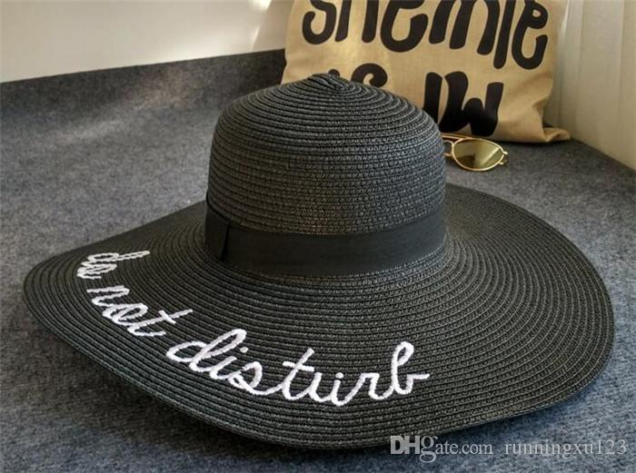 large chapeaux de soleil à bord pour les femmes lettre broderie chapeaux de paille filles ne pas déranger dames chapeaux de paille lady chapeau de soleil R023