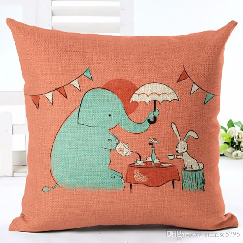 cute cartoon animal cushion cover deer giraffe chaise couch chair throw pillow case kids almofada decorative children cojines