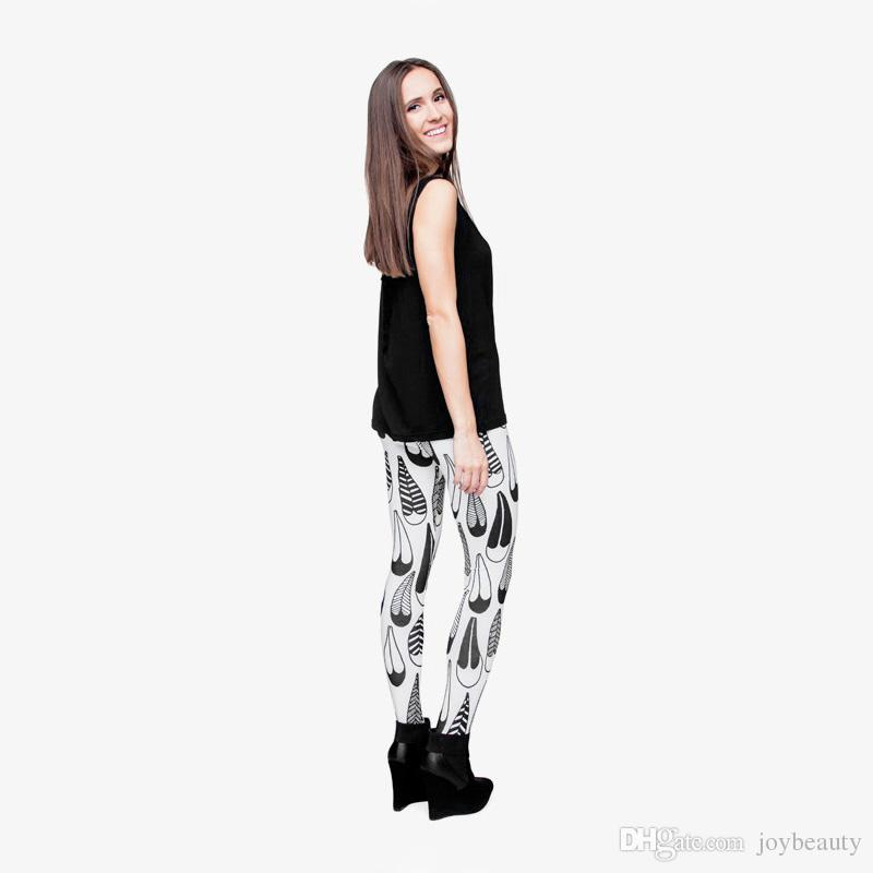 Women Leggings Freehand Feather Graphic Print Girl Black White Skinny Stretchy Yoga Wear Pants Gym Fitness Pencil Fit Soft Trousers J29655
