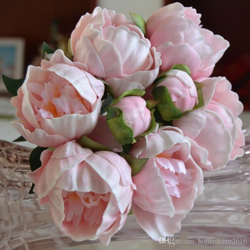 Real Touch PU Peony Buds bouquet wedding bride Holding flower Bride Holding Brooch Bouquet home decorative ornament white pink color