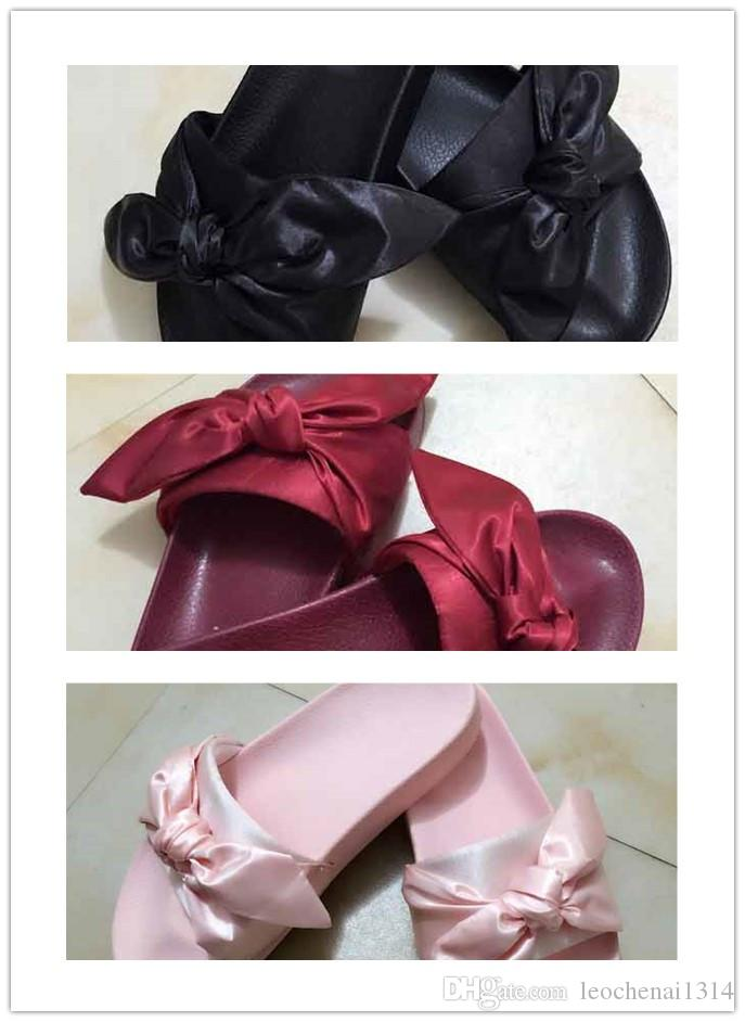 2017New Hot Rihanna Leadcat X Fenty Bandana Slide Bow Slippers ... 87d8e818c