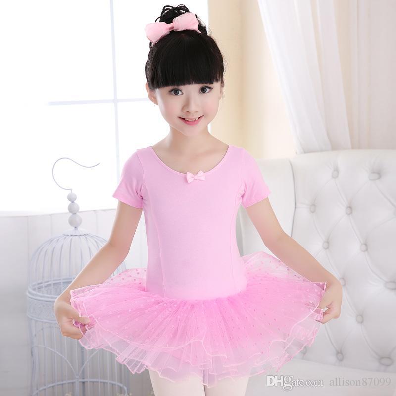 fdda7b1917 Compre Crianças Meninas Dancewear Swan Ballet Dots Tutu Saia Saia De Dança  Desempenho Da Escola Vestido De Verão De Manga Curta Logotipo Impressão  Custom ...