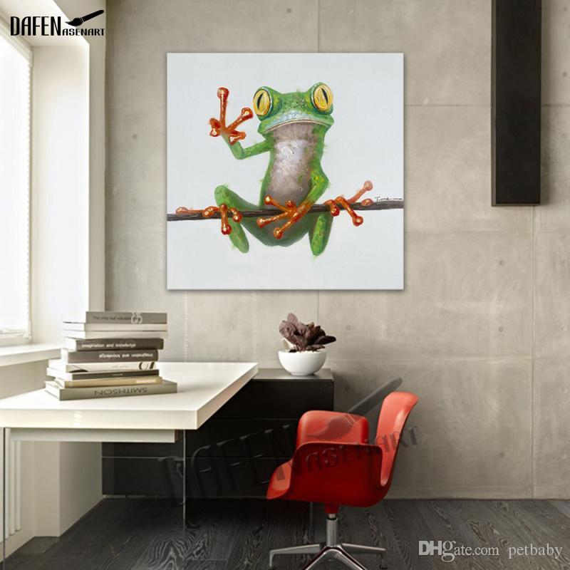 Grenouille heureux porter des lunettes de dessin animé animal peinture à la main peinture à l'huile sur toile moderne abstrait mur art chambre décoration