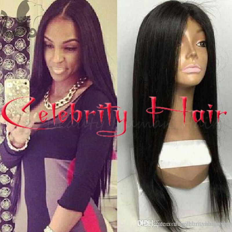 Freeshipping black/brown/blonde/bug natural straight full hair wig high ponytails&lace front wig free part for african americans