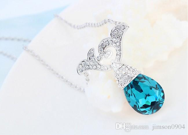 2017 new Fashion Necklace color using SWAROVSKI Elements Crystal Necklace Anxiang floating Yiwu small accessories sale
