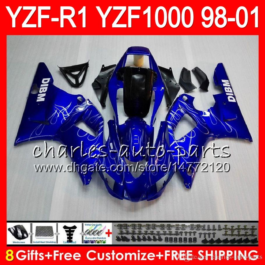 8Gift 23Corpo Cor Para YAMAHA YZF1000 YZFR1 98 99 00 01 YZF-R1000 preto azul 61HM8 YZF 1000 R 1 YZF-R1 YZF R1 1998 1999 2000 2001 Carenagem