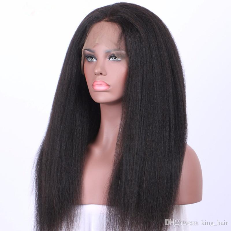 몽골어 버진 거친 야키 Pre Plucked 360 Full 레이스 Human Hair Wig 180 % 밀도 Kinky Straight 360 Lace Frontal Wigs