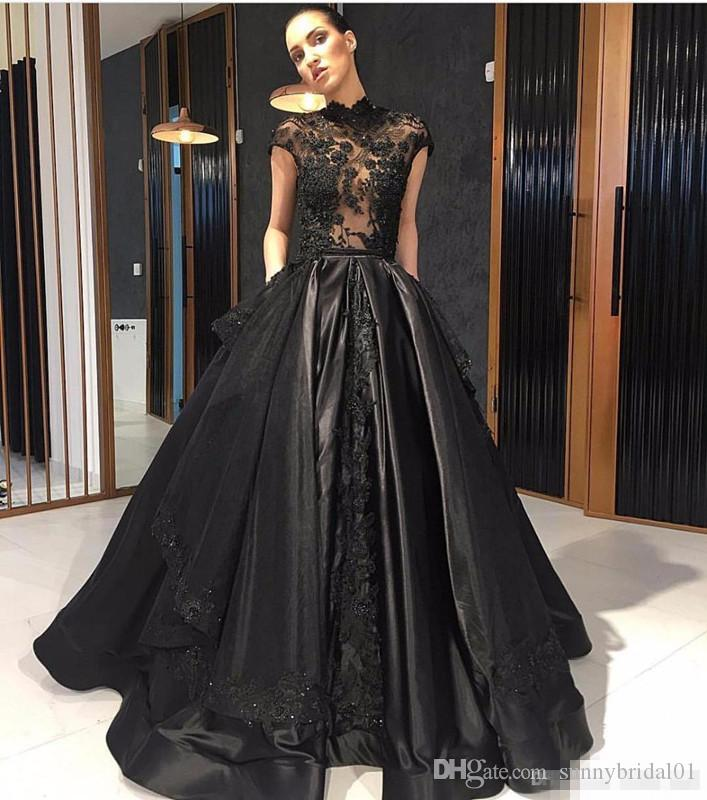 Elie Saab 2017 Black Lace Formal Celebrity Evening Dresses High Neck See Through Overskirt Train Red Carpet Prom Party Gowns Vestidos