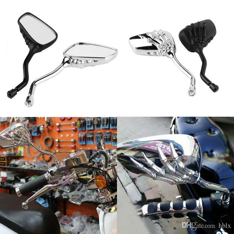 2X Brazo esqueleto Diseño de mano Motocicleta universal Cromo ESQUELETO Cráneo MANO Garra Espejos retrovisores laterales Negro / Plata MOT_50T