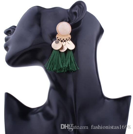 Neue europäische und amerikanische hyperbolische Legierung Harz Quaste Ohrring Bohemia Stil Mode beliebte mehrfarbige Quaste Ohrringe