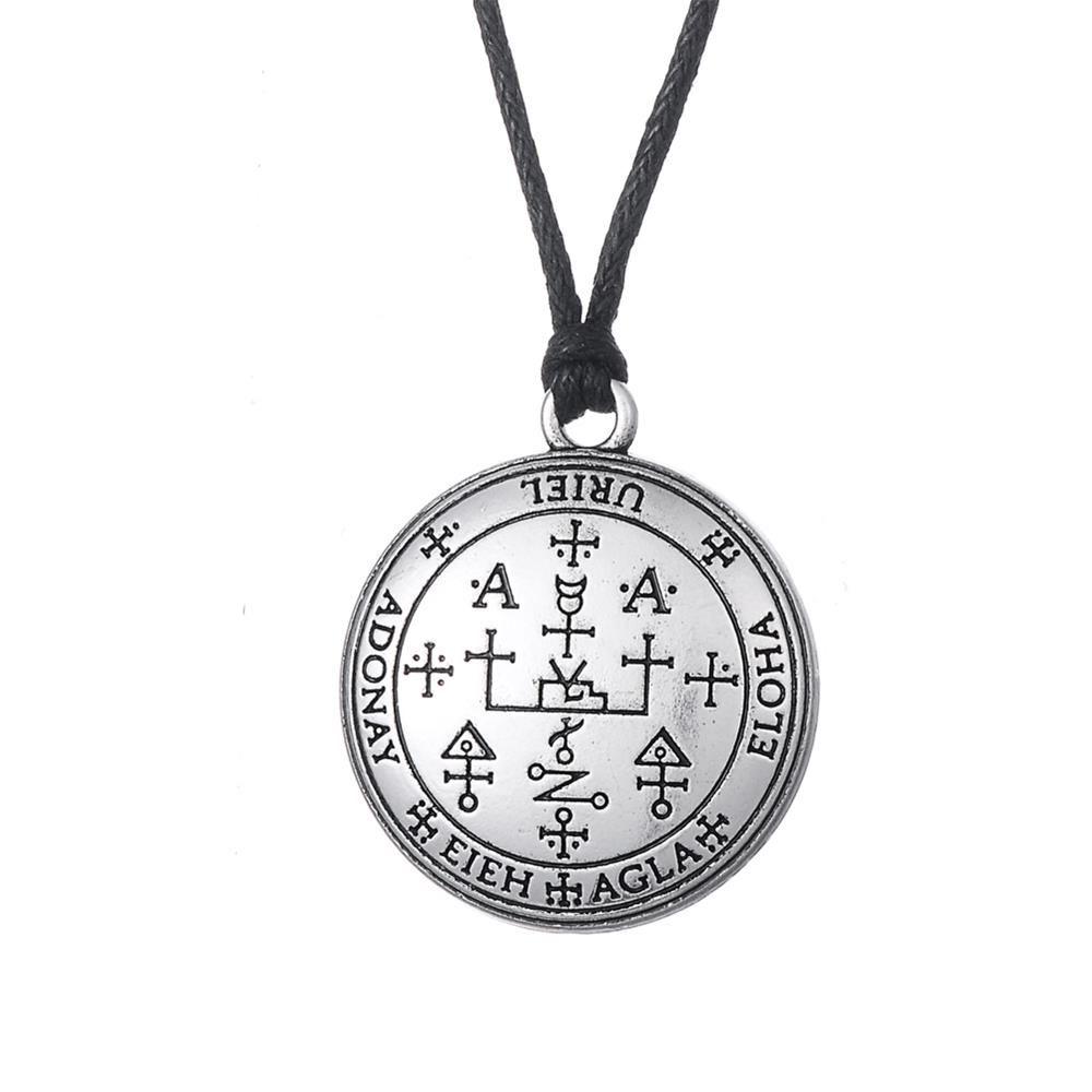 Gothic Sigil of Archangel Uriel Enochian Talisman Amulet Angel Rope Necklace for Men and Women Statement antique vintage signs
