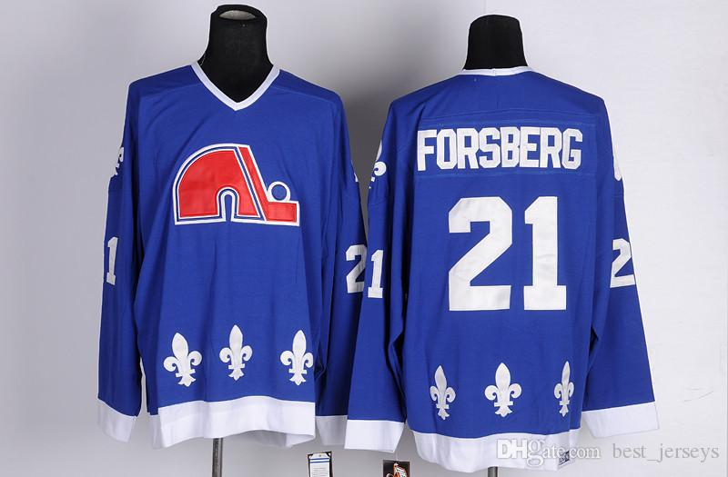 Cord NHL Quebec Nordiques # 19 Joe Sakic 21 Forsberg 26 Stastny 13 Sundin 22 Marois Blanc Bleu pas cher Hockey Chandails Vintage CCM