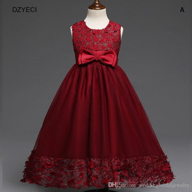 2019 Christmas Party Dresses For Girl Wedding Lace Costume Carnaval Children  Flower Bow Ball Gown Princess Frock Kid Bridesmaid Ceremony Dress From ... 3701b4773cbc