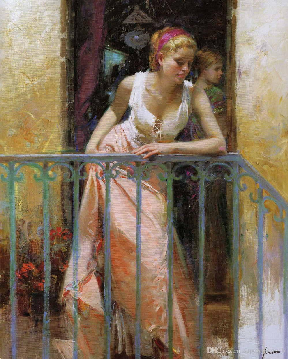 The Balcony woman by Pino Daeni,Handpainted Famous Impressionism Art Oil Painting On High Quality Canvas sizes can customized Free Shipping
