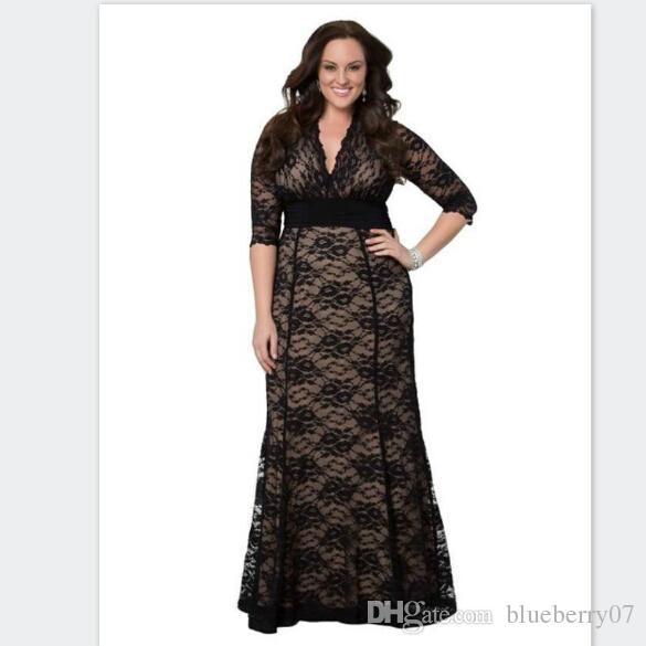0587431ff Großhandel Women s Plus Size Maxikleid Long Little Black Lace Kleider 5xl  6xl Mutter Der Braut Kleider Von Blueberry07