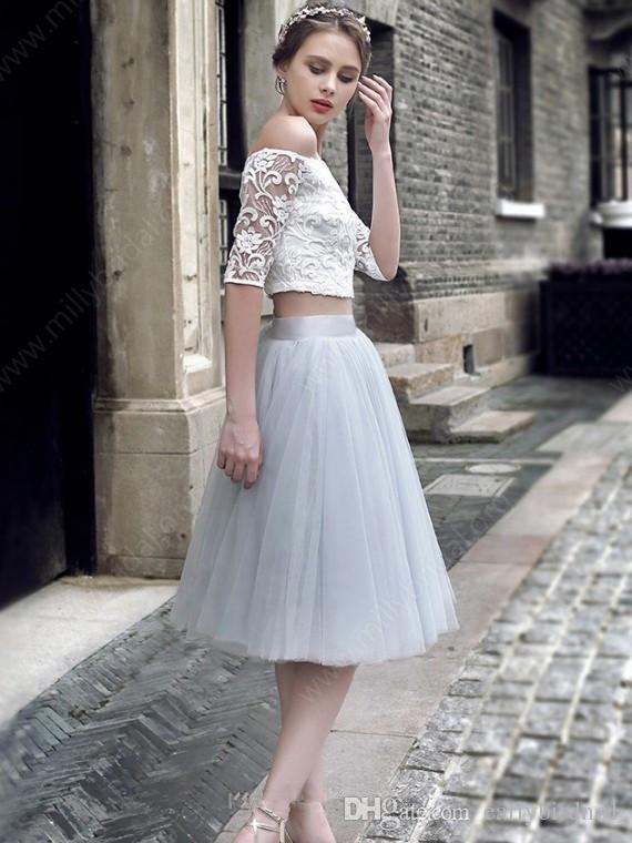 2017 tul encaje sexy fuera del hombro vestidos de fiesta mangas medias dos piezas vestidos de cóctel hasta la rodilla vestidos de fiesta barato