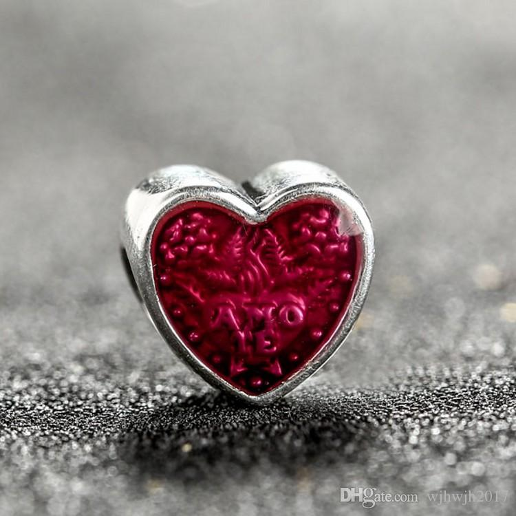Valentines Day Latin Love Heart Charms Beads 925 Sterling-Silver-Jewelry Enamel Heart Bead Fit DIY Brand Bracelet Making Accessories