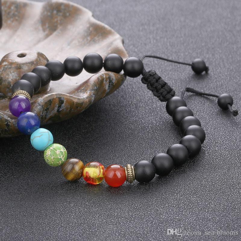 7 Chakra Bracciale Uomo Donna nera della lava di guarigione Reiki Balance preghiera Perline di pietra naturale Yoga Strand Bracciali Aroma B739S corda regolabile