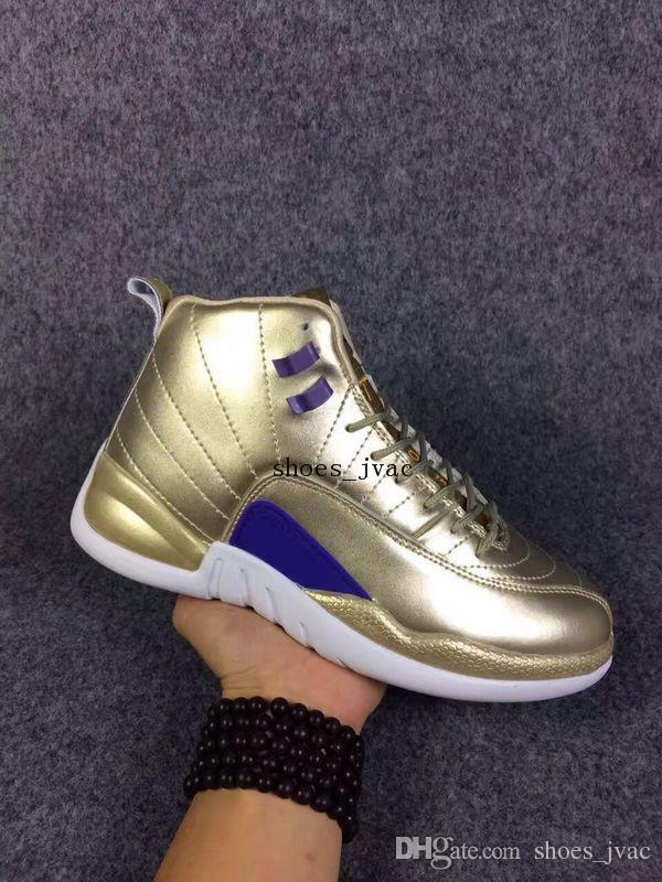 5d6d2c47f501 Top Quality Luxury Gold White Purple 12s Men Basketball Shoes 2016 Retro 12  XII Pinnacle Metallic Gold Trainers Cheap Sneakers For Sale Best Basketball  ...