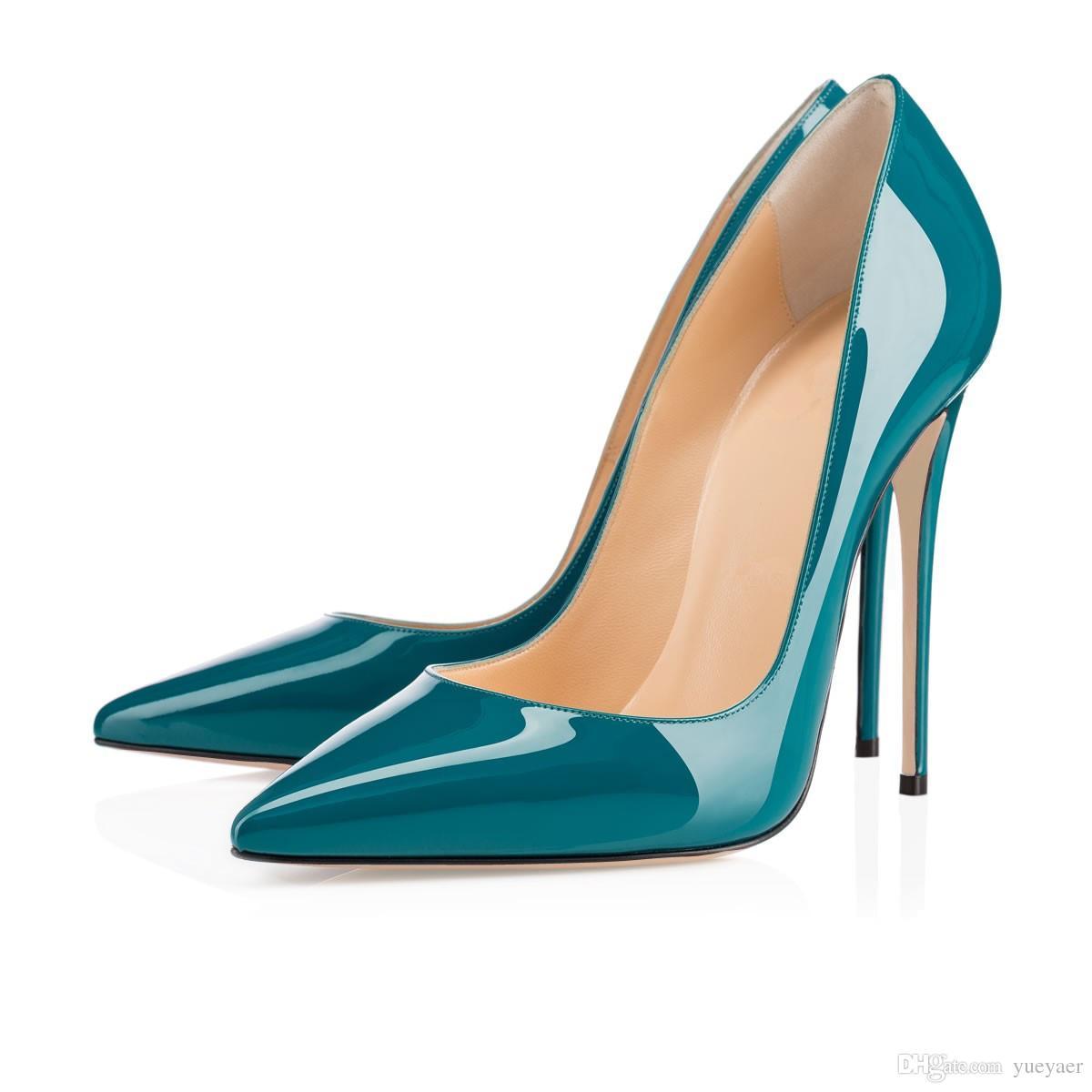 Zandina Senhoras Artesanais Moda ASO-kate 120mm Dedo Apontado Do Partido Clássico Magro Bombas de Salto Sapatos Stiletto Escuro-verde