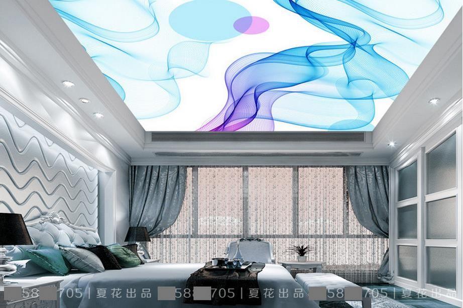 Avrupa tarzı tavan duvar resimleri duvar kağıdı Mavi dinamik çizgiler soyut 3d stereoskopik tavan duvar kağıtları için oturma odası fotoğraf kağıdı