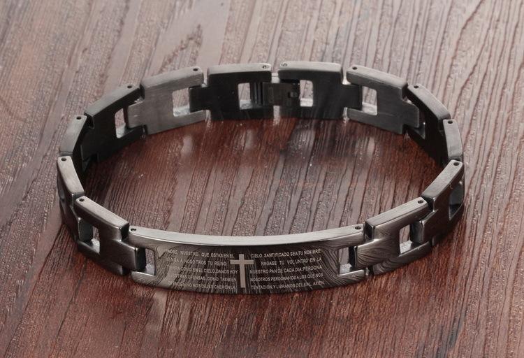 Santé Énergie Bracelet Bracelet Anglais Bible Titane En Acier Inoxydable Croix Lettre Lettre De Prière Bracelets pour Hommes Noir Bijoux par DHL