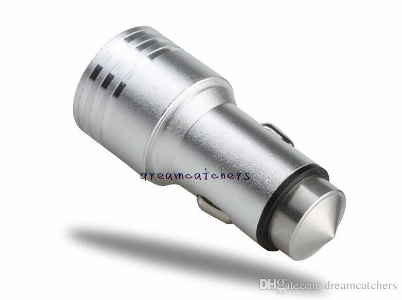 Universale Mini USB Dual USB Metallo sicurezza martello caricabatteria da auto alimentatore da viaggio iphone 7 bordo Samsung S7 LG Smartphone