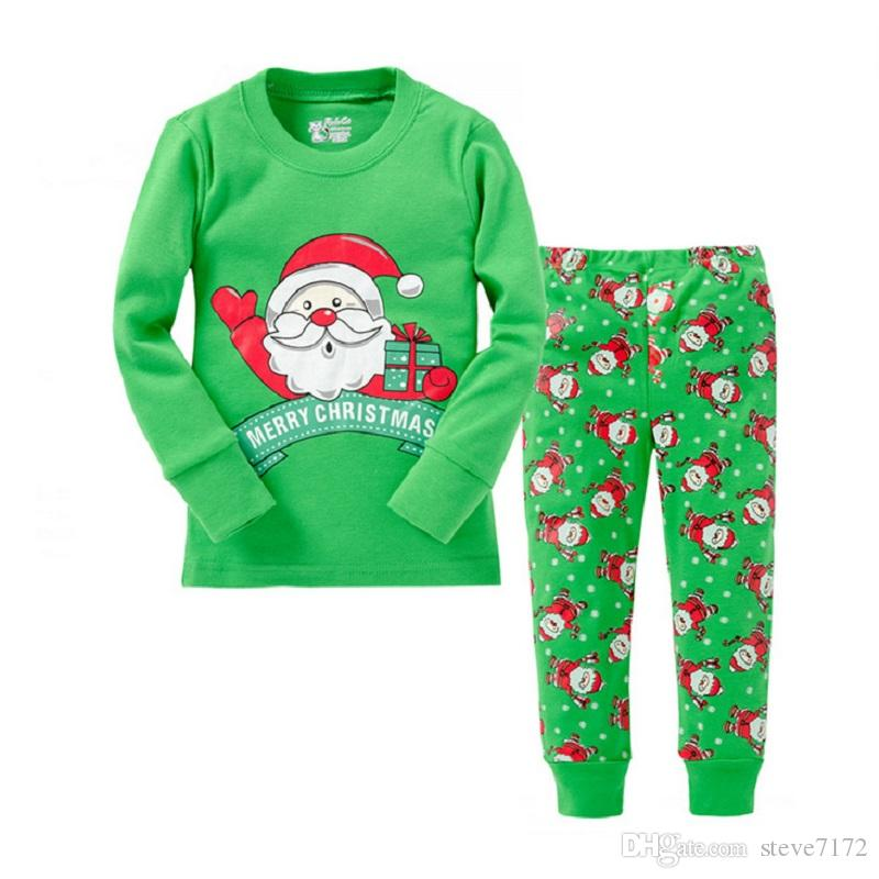 df31b3bd39 2019 Green Christmas Clothes Gift Children Sleepwear Santa Boys Pyjamas  Kids X Mas Costumes 100% Cotton Girls Pajamas Long Tee Shirt From  Steve7172
