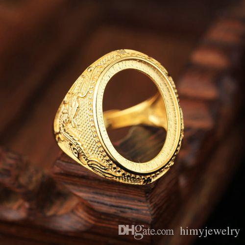 Fine Silver Sterling Silver 925 Plated Yellow Gold Dragon 15x20mm Oval Cabochon Semi Mount Men Engagement Wedding Ring Art Nouveau Vintage