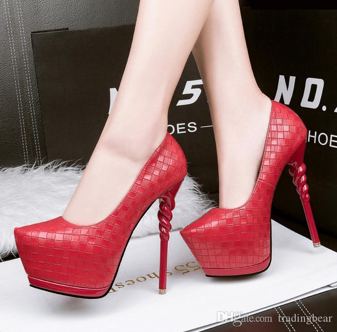 14cm 2017 Spring New Grid Design Red Wedding Shoes Sexy Platform ...