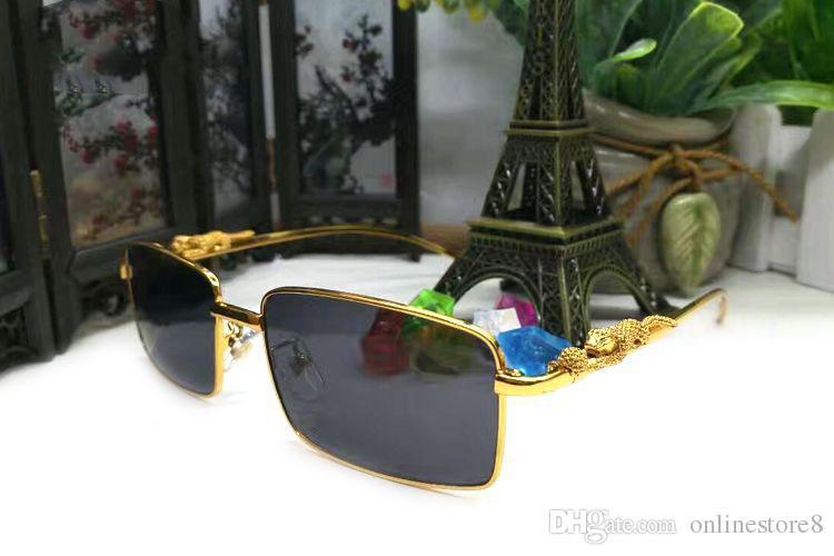الذهب الرجعية مستطيل النظارات العلامات التجارية للنساء الرجال الفاخرة سبيكة ثلاثي الأبعاد ليوبارد العلامة التجارية مصمم النظارات الشمسية مع مربع وشعار