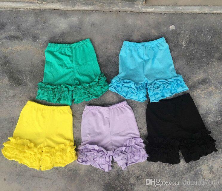 Оптовая летняя девушка сплошной цвет супер мягкий хлопок обледенение шорты Детские высокое качество одежды