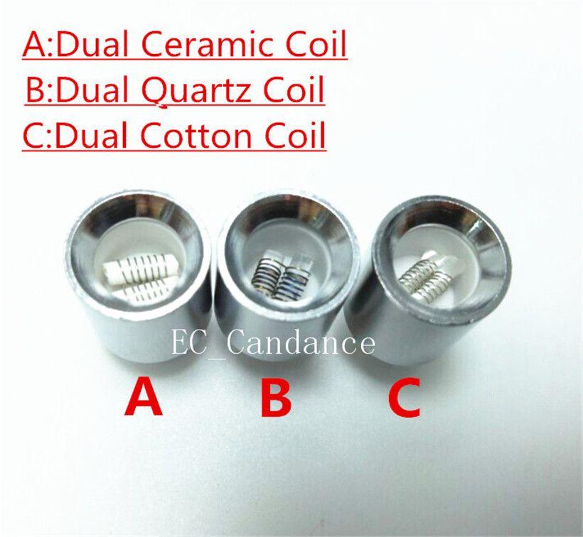 Dual Quartz Rod Coil Cotton Ceramic Coil replacement core Metal Coil for Vase Cannon Glass Globe Atomizer VS Ceramic Donut Skillet