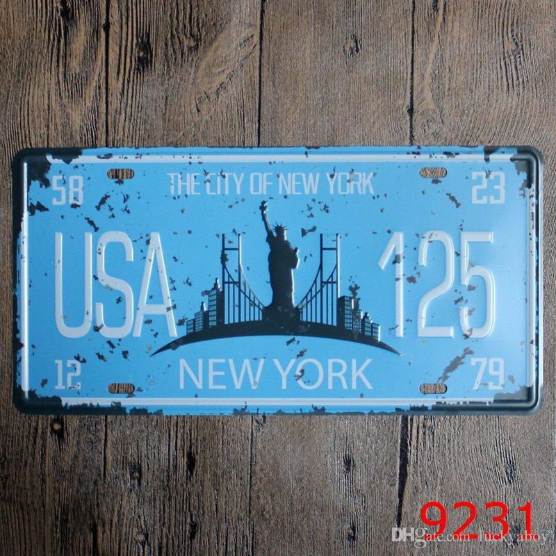 wholesale good quality Car Metal License Plate Vintage Home Decor Tin Sign Bar Pub Cafe Garage Decorative Metal sign 30*15cm