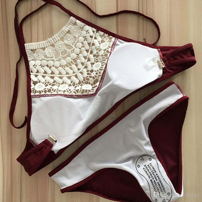 Мода Холтер купальники купальник высокая шея обрезанные повязки кружева бикини установить черный Hallow из купальник для женщин