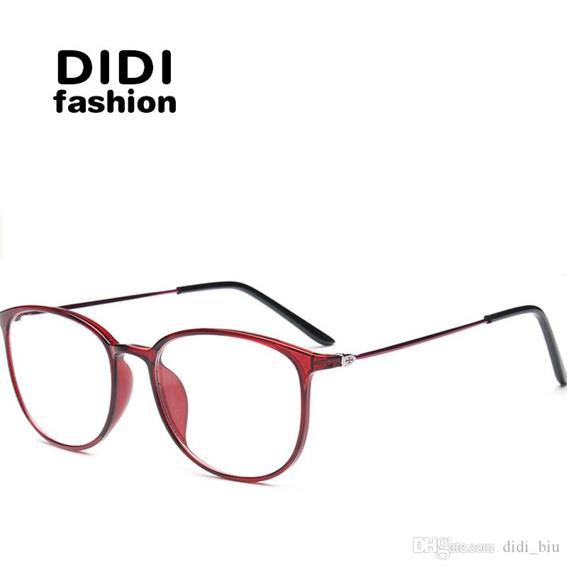 2ca82db0873c DIDI Plastic Titanium Clear Glasses Women Men Leopard Print Thin Frame  Trasparent Eyeglasses Optical Prescription Frames TR90 Lunette U582 Oval  Glasses ...