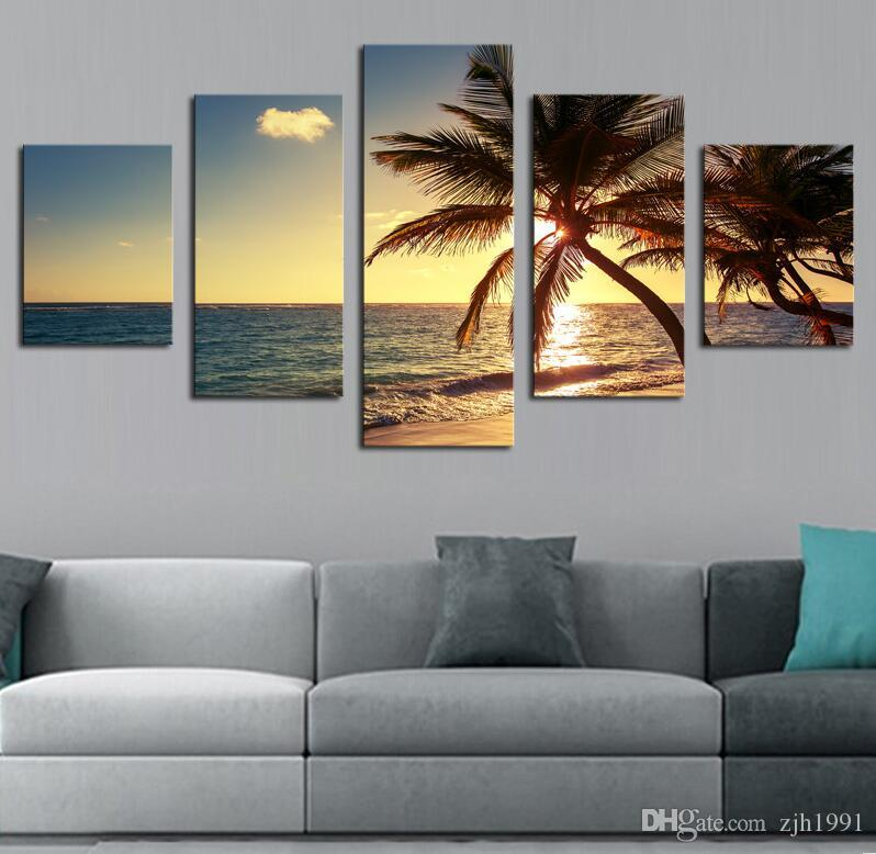 Beach coconut tree Modern Home Wall Decor Canvas Picture Art HD Print Painting On Canvas Artworks