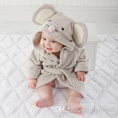 Free Shipping 100% Cotton Towel Fabric Animal Modeling Hooded Baby Bathrobe Swaddling Cartoon Kids Baby Bath Towel Infant pijamas Robe