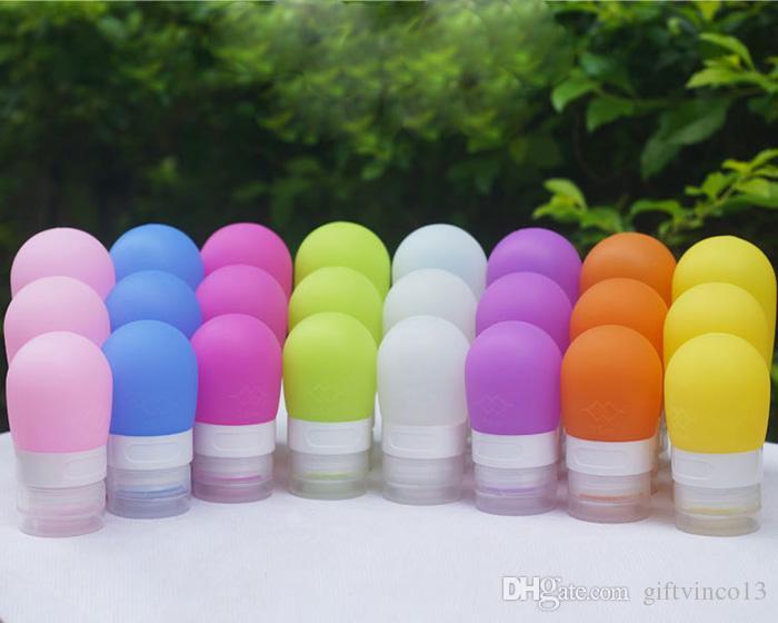 Botellas rellenables al por mayor del recorrido del silicón 38ml Mujeres de la manera Herramientas del maquillaje Loción Cosmética Squeezable Shampoo Contenedores liberan la nave