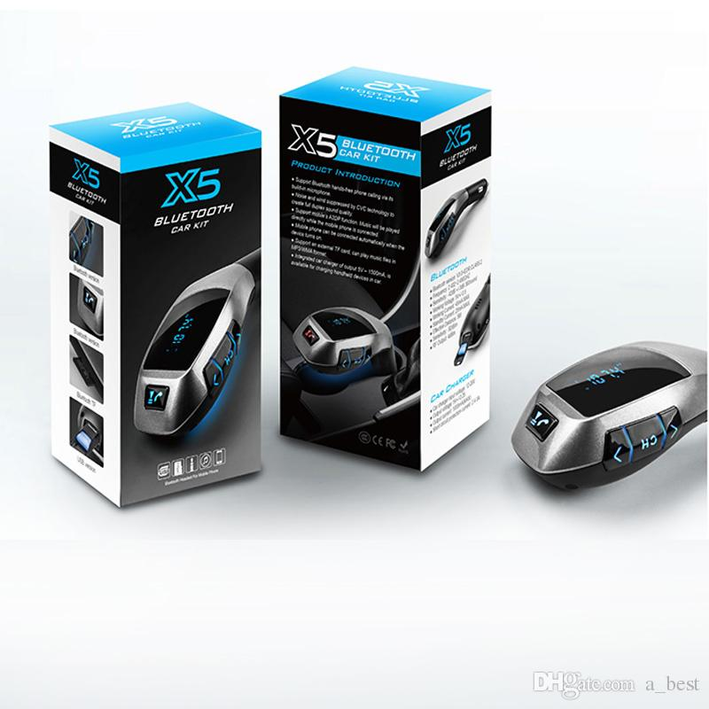 Bluetooth Transmetteur FM sans fil pour voiture Adaptateur X5 Radio Chargeur de voiture USB avec lecteur MP3 USB TF Radio avec écran LCD