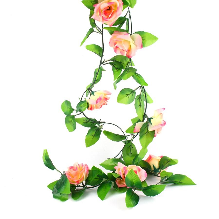 Fake Silk Roses Ivy Vine Artificial Flowers With Green Leaves For