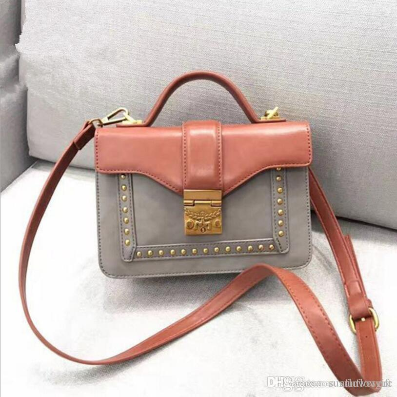 af58a26724 Two Color PU Rivet Small Purse Women Crossbody Bags Wide Shoulder Strap  Messenger Bag Retro Lock Leather Bags For Women Womens Bags From  Sunflowergift