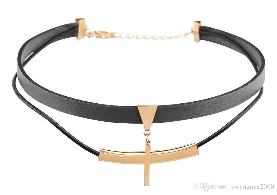 Beautiful 2018 Dangle Cross Leather Choker Necklace Gold Delicate Layered  RP28
