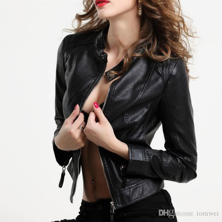 c0331e6eaf2 Sexy Leather Jacket Women Faux Leather Jackets Autumn Coats Female Overcoat  Outwear Black Large Size S 2XL New Fashion Womens Leather Bomber Jacket  Jackets ...