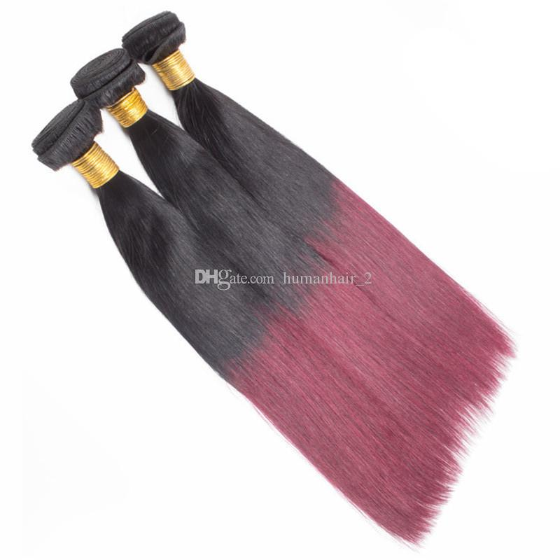 Zwei Ton Ombre Menschenhaar 1b 99j Burgunder Gerade Haar Bündelt / Weinrot Ombre Brasilianische Gerade Jungfrau Haarverlängerungen