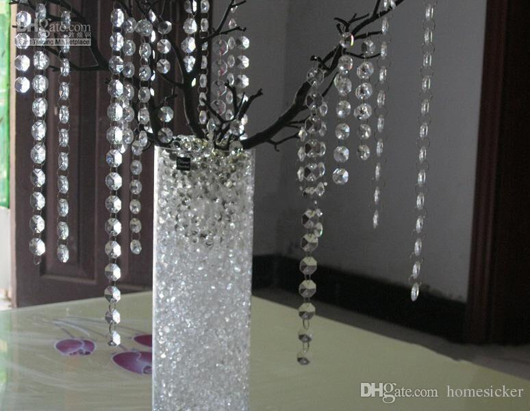 New Wedding Party Decoration Clear Acrylic Crystal Octagonal Bead Curtain Garland Strands DIY Craft Christmas Tree Hanging Ornament