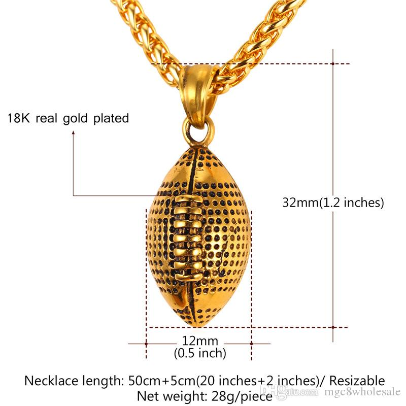 U7 New Sports Golden Rugby Ball Oval Retro Pendant Necklace Stainless Steel Charm American Football Ball Sport Jewelry for Men